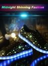 Mode unisexe femmes hommes Lace Up Rechargeable 7 couleurs changeantes LED éclairage lumineux chaussures Casual Sportswear Sneaker avec étoiles fluorescentes