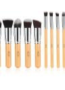 Abody 10Pcs cepillo profesional del maquillaje de la manija kit de cosméticos esencial de madera con herramientas de gel de silicona Mini escobilla del polvo del cepillo de sombra de ojos