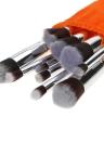 Abody 10Pcs pinceau de maquillage professionnel Set poignée en bois Kit Cosmetic Essential avec gel de silice Mini brosse de nettoyage Outils Pinceau Poudre Fard à Paupières