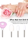 5Pcs Nail Art Drill Set Nail Drill Bit Kit Sanding Grinding Head Tips Buffer File for Polishing Electric Sander Machine Manicure Polished Tool Set