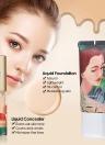 HUAMIANLI 4pcs Cosmetic Makeup Set Liquid Foundation Concealer Eyeliner Pen 3D Fiber Lash Mascara Waterproof