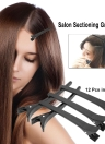 12Pcs Alligator Clip Salon Sectioning Grip Clip Crocodile Hair Clamp Hairdressing Styling Hairpin