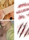 Etiqueta engomada temporal del tatuaje Cicatrices Terror Halloween Flores Patrón Ojos Pegatinas de cara Etapa de maquillaje