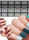 12 Feuilles Nail Vinyls Adhésif Ultra-mince Plaid Net Ligne Creux 3D Nail Pochoir Autocollants pour Manucure Nail Art Décoration