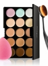Anself 15 couleurs Make Up Cream Camouflage visage Concealer Make Up Palette avec Éponge ovale pinceau de maquillage pour Cosmetic Powder Foundation