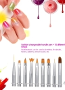 10 In 1 Changeable Nail Pen Set Nail Art Brush Liner UV Gel Gradient Painting Polishing Cuticle Remove Manicure Kit