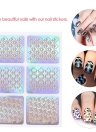 12pcs/set Nail Manicure Stickers Mixed Patterns French Nail Hollow Grid Stencil Stamping Template Nail Art Tools