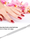 1pc Stainless Steel Double-ended Nail Pusher Anti-slip Manicure Pedicure Cuticle Pusher Dead Skin Trimmer Nail Cuticle Remover Cutter