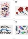 Autocollants de tatouage temporaire imperméable amovible crâne Rose fleur Totem plume Body Arm Art Décoration
