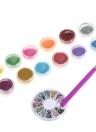 Nail Art Manicure Set 12 cores Glitter em pó e 2 Way unhas Gel UV escova Pen and Nail Rhinestones Decoração Art DIY Kit