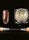 Camaleón del clavo de las lentejuelas # 2 del brillo del arte del clavo de la manicura transparente Paillette Decoración de uñas de arte del polvo del brillo con el cepillo