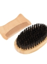 2Pcs Men's Beard Brush Pepper Set Soft Fiber Shaving Brush Wooden Hair Peitão Masculino Facial Hair Brush Comb Kit