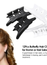 12Pcs Butterfly Hair Clips Hair Claw Clamps Plastic Hairpin Teeth Black White Salon Hairdressers