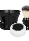 3pcs Strumenti per la rasatura della barba tradizionale Set Kit per rasatura umida Pennello da barba Tazza Ciotola Sapone Home Barbiere
