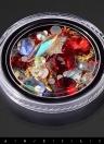 Красное украшение бриллиантов Nail Art Sharp в нижнем прозрачном бриллиантовом бусине из одного кристалла