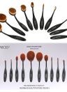 10pc Taurus Oval suave maquiagem escova conjunto escova Fundação Blush em pó creme cosmético Kits maquiagem profissional ferramenta escova cosmética