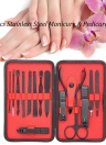 15Pcs Stainless Steel Manicure & Pedicure Set Nail Clipper Travel & Grooming Kit with Storage Case