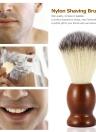 Brocha de afeitar de los hombres de Nylon con madera mango para barba profesional afeitadora masculina cepillo Facial cara limpieza herramienta marrón oscuro
