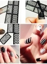 12 Sheets Nail Vinyls Adhesive Ultra-thin Plaid Net Line Hollow 3D Nail Stencil Stickers for Manicure Nail Art Decoration