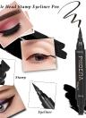 PHOERA Double Head Liquid Eyeliner Pen Stamp Triangle Seal Black Pencil Makeup Cosmetics Tool Waterproof
