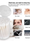 100Pcs Cotton Swab Double-ended Cotton Bud Disposable Wooden Tube Cotton Makeup Remover Ear Cleaner Swabs