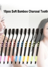 10pcs Soft Bamboo Charcoal Toothbrush Black Tooth Brush Eco-friendly Oral Teeth Care Brush For Kids And Adults