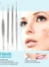 5Pcs Ferramenta de cabeça preta de aço inoxidável Pimple facial Comedone Needle Blackhead & Blemish Kit Limpador de acne com saco preto