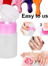 60ml Plastic Bottle Pump Dispenser Empty Nail Polish Remover Nail Manicure Make up Cleaner Nail Art Tool