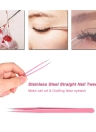 2Pcs/set Stainless Steel Pink Straight/Curved Nail Tweezers Nippers Tools Eyelash Extension Tweezers Pointed Clip Makeup Tools
