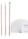 4Pcs / set Ferramentas de removedor de acne de dupla extremidade Extractor Kit 10pcs Álcool esterilizado Almofada de algodão Blackhead Pimple Needles Aço inoxidável
