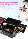 Lockable Cosmetic Organizer Box Make Up Foldable Case