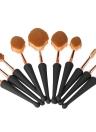 10pcs Kit de cosméticos para cabelo de nylon Conjunto de escovas de maquiagem com forma de Seashell