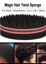 1Pc Oval Brush for Afros Dreadlocks Curl Coil Wave Double-sided Hair Twist Sponge Magic Hair Braider 4 Optional Colors