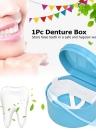 1Pc Denture Box Denture Case Dental False Teeth Cleaning Box Denture Bath Container Retainer Denture Holder