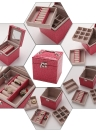 Portable Handheld PU Leather 3 Layers Drawer Jewelry Storage Box with Mirror