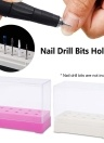 10 Holes Nail Drill Bits Holder Display Standing With Cover Storage Box Nail Art Equipment Grinding Heads Displayer Manicure Tool