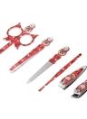 6pcs patrón de muñeca rusa manicura conjunto de herramientas de belleza de acero inoxidable bolsa de cuero caso Earpick Clippers pinzas tijeras archivo