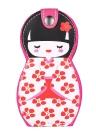 6pcs Japonais Poupée Motif Manucure Beauté Outils Set En Acier Inoxydable Pochette En Cuir Cas
