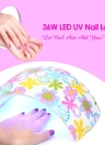 36W LED UV Nail Lamp Nail Gel Dryer Fingernail & Toenail Gel Curing White Light Flower Pattern Nail Art Painting Nail Tool Optional US/EU/UK/AU Plug