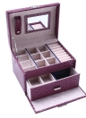 Portable Handheld PU Leather 2 Layers Drawer Jewelry Storage Box with Mirror