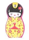 6pcs Japanese Doll Pattern Manicure Beauty Set de herramientas de acero inoxidable Funda de cuero