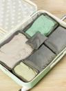 6pcs / set Bolsas de viaje de equipaje ligero Hombres y mujeres Cubiertas de embalaje Organizador Bolsas de compresión Moda Cremallera doble Bolsa de poliéster impermeable Maleta (azul claro)
