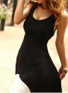 Sexy U Neck Cut Out Backless Sleeveless High Low Hem Women's Maxi Dress