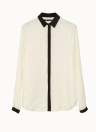 Chic Color Block Long Sleeve Button White Chiffon Blouse