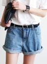 Mulheres vintage Denim Jeans Shorts cintura alta rolando-se algemas superdimensionada calças curtas azul claro