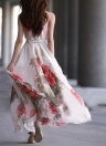 Verão Mulheres Chiffon Maxi vestido floral impressão mangas Cocktail Evening Party Dress Red