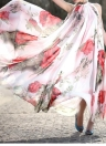 Été Femmes en mousseline de soie Maxi robe imprimé floral manches soirée cocktail robe de soirée rouge