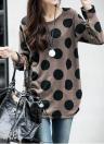 Koreanische Art und Weise Frauen Lockeres T-Shirt Tupfen-Rundhalsausschnitt-Strick Long Shirt Pullover Tops Kaffee