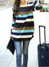Korean Slouchy Colorful Stripe Long Sleeve Loose Long T-shirt