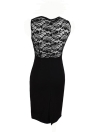 Vintage Floral Lace Patchwork Color Block Sleeveless Black Pencil Dress
